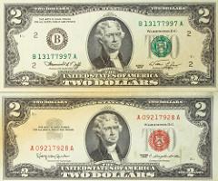 President On 2 Two Dollar Bill
