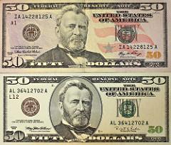 President On 50 Fifty Dollar Bill