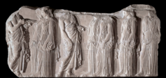 Acropolis Component Title/ Designation: Plaque of the Ergastines Artist/ Culture: Athens, Greece, Iktinos and Kallikrates, artist of plaque is said to be Phidias  Date of Creation: c. 447-410 B.C.E. Materials: Marble.