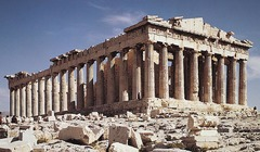 Acropolis Athens, Greece. Iktinos and Kallikrates. c. 447-410 B.C.E. Marble   The most recognizable building on the Acropolis is the Parthenon, one of the most iconic buildings in the world, it has influenced architecture in practically every western country.
