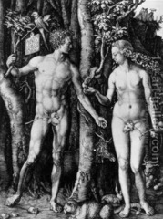 Adam and Eve Albrecht Dürer. 1504 C.E. Engraving Dürer became increasingly drawn to the idea that the perfect human form corresponded to a system of proportion and measurements. Dürer's placid animals signify that in this moment of perfection in the garden, the human figures are still in a state of equilibrium.
