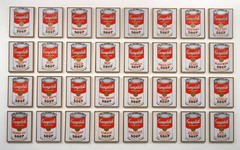 Andy Warhol: Soup Cans, 1964 , Popart • His early career as a commercial artist and illustrator precursed his knowledge in advertising visual rhetoric and the mass media,  • Icon of mass produced consumer culture of the time  • He used visual printing techniques that reinforced its connection with consumer culture, repetition and its omnipresence related to the dominance of marketing and advertising int Maerican Society  • He also called his studio the factory  • Mocking visual language and rhetoric in consumer culture  • Not interested in the formalist discussion of Greenberg ad Rosenberg, wanted to make art that did not alienate the public as did abstract expressionism with itsfocus on the artist's introspection or the lofty intellectual concepts behind post-painterly abstraction