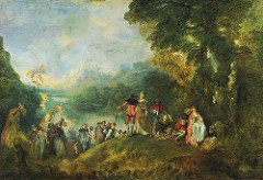 Antoine Watteau, Voyage to Cythera, 1717, Rococo  • Watteau was largely responsible for creating a specific type of Rococo painting, called fete galante (amorous festival) painting  • These works depicted the outdoor entertainment or amusements of French high society  • Voyage to Cythera is an example of a fete galante  • He used this painting to enter the French Royal Academy but was rejected because at the time the academy accepted on basis of two competing doctrines: members following Poussin in teaching that form was the most important element of painting, whereas