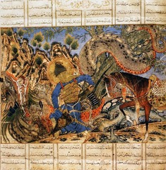 Bahram Gur Fights the Karg, folio from the Great Il-Khanid Shahnama Islamic; Persian, Il'Khanid. c. 1330-1340 C.E. Ink and opaque watercolor, gold, and silver on paper  This folio is from a celebrated copy of the text known as the Great Ilkhanid Shahnama, one of the most complex masterpieces of Persian art. Because of its lavish production, it is assumed to have been commissioned by a high-ranking member of the Ilkhanid court and produced at the court scriptorium. The fifty-seven surviving illustrations reflect the intense interest in historical chronicles and the experimental approach to painting of the Ilkhanid period (1256-1335). The eclectic paintings reveal the cosmopolitanism of the Ilkhanid court in Tabriz, which teemed with merchants, missionaries, and diplomats from as far away as Europe and China. Here the Iranian king Bahram Gur wears a robe made of European fabric to slay a fearsome horned wolf in a setting marked by the conventions of Chinese landscape painting.