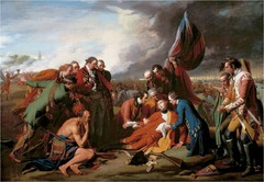 Benjamin West, Death of General Wolfe 1770, 18th century Enlightenment Art  • American artist who became very well known in England  • Born in Pennsylvania on what was a colonial frontier • He became the official painter of King George III (1760-1801) during the strained periods of the American Revolution  • West depicts the mortally wounded young English commander just after his defeat of the French in the decisive battle of Quebec in 1759, which gave Canada to Great Britain • In portraying contemporary historical subject, he put his characters in contemporary cotsumer  • Bended realism of detail with the grand tradition of history painting by arranging the figures in a complex theatrically ordered composition  • His modern hero dies among grieving officers, appears in religious pose, martyrdom for his country suggests the death of a great saint  • Religious emotions  • Combination of traditional heroic, history paitning with modern realism is very effective