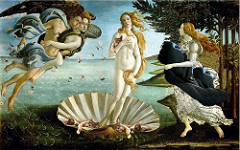 Birth of Venus Sandro Brotticelli. c. 1484-1486 C.E. Tempera on canvas Botticelli broke new ground with his works, including the Birth of Venus. He was the first to create large scale mythology scenes, some based on historical accounts. In the era that Birth of Venus was painted, minds were open to new ideas and religion no longer needed to be the main subject of artistic work. If such mythological pieces had been painted 100 years earlier, they would not have been accepted by the church because they were so different to traditional depictions.