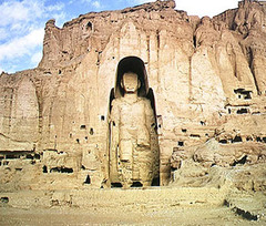 Buddha  Bamiyan, Afghanistan. Gandharan. c. 400-800 C.E. (destroyed in 2001). Cut rock with plaster and polychrome paint The cultural landscape and archaeological remains of the Bamiyan Valley represent the artistic and religious developments which from the 1st to the 13th centuries characterized ancient Bakhtria, integrating various cultural influences into the Gandhara school of Buddhist art.