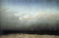 Caspar David Friedrich The Monk by the Sea, 1810, Romantic  • Among the first of the Northern European artists to depict the sublime nature of Romantic landscapes  • Power of nature, emotive response, miniscule human forms compared to the vast sea and overarching sky reinforces the sense of the sublime and immense power of nature over human beings  • His atmospheric landscape painting capture a spiritual aspect to landscapes and nature • Romantic landscape painters often use landscapes as an allegory, for Caspar this was spirituality  • Single figure dressed in long dark garment, turned almost completely away from the viewer, blending an dbecoming one with nature  • Influenced Whistler, spiritual aspects of nature • Sense of despair, death  • Although not the theatrical nature of Gericault or Delacroix, there is a resonant deep emotion that pervades them