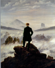 Casper David Friedrich Traveler Overlooking a sea of fog 1818 • Immense and emotive power of nature, casping spiritual aspect of nature, using landscape for an allegor of something bigger • Emotive response, painting from within, resonant deep emotions even without theatrical sense • Viewer blending and becoming one with nature • JMW Turner and Constable followed