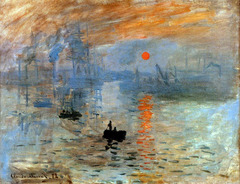 Claude Monet, Impression: Sunrise, 1872, Impressionism -hostiel critic coined the word impressionism, not an objective look at the world, subjective take on fleeting moment in time -very painterly, sketch liek quality that evokes movement and the changing light -Rembrandt to the extreme, no longer so subtle changes in light  -spontaneity is present, not a fixed moment in time which coincided to how quickly Paris was changing  -matching in both content and style  -combination of an obejctive and subjective vision of what the artist saw -Sarent and Manet, looser structure • Different from the studio artist,Monet painted outdoors, sharpened his focus on the role of light and color and its effects, instantaneous representations of atmosphere and climate • He investigated light and color, allowed artist to display something momentary and transitoru  • Scientific studies of light and the invention of chemically synthesized pigments increased artists' sensitivity to the multiplicity of colors in nature and gave them new colors for their work • local color -an object's true color in which light, becomes modified by the quality of the light shining on it , by reflections from other objects and by the effects of juxtaposed colors