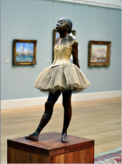 Edgar Degas, Little Dance of 14 years, 1880, Impressionism  • Preferred to be associated with Realism  • Young student in the paris Opera Ballet • It is dressed in a real bodice, tutu and balet slippers with a real wig of hair • Her face contorted, perhaps showing that this is not what the young girl wants to bed doing