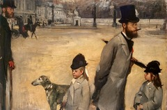Edgar Degas, Place de la Concorde, Vicomte Lepic and his daughters, 1876, Impressionism  -contmeporary life -fleeting moment -brush strokes evident, movement, Monet, Renoir -Paris changing world • Random direction people facion, opens the plain to the viewer,  • Could have be influenced by photography due to the amount of negative space • Modern moment, temporal, incidental momentary quality  • Rby th 11880s, artough brush strokes, bringing attention to the medium (modernism)  • Wanted totransalte the bizarre new medium of photography into the medium of painting