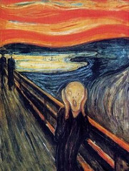 Edvard Much: The Scream, 1893, Post Impressionism, German Expressionism/Symbolism • His belief that humans were powerless under the great natural forces of death and love  • Jealoust, despair  • His goal was to describe the condition of modern psychology, realism and impressionism focused on the tangible world • Much distorted color, line and figures to fit emotions  • Man standing on the bridge, the curvilinear lines of the landcape shape the mouth and head, to echo a scream reverberating through the setting • Fiery colors contribute to the extreme anicety