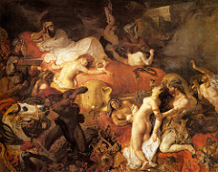 Eugene Delacroix Death of Sardanapalus 1827, Romantics -definition of a grand romantic pictorial drama -interest in ficitonal exotic, erotic narratives -no sense of hope, despair -drama, emotio, high intensity colors (rubens)  -the exotic (INgres and AJ Gros) -difficult, dramatic poses, not calculated  The appeal of Romanticism, emphasis on freedom and feeling Inspired by the 1821 narratie poem Sardanapalus by Lord Byron, Delacroix depicts the last hour of the Assyrian King (who had just received news of his armies' defeat and the enemies' entry into the city)  Much more tempestuous and crowded setting than Byron described  The king reclines on his funeral pyre, soon to be set on flire, and gloomily watches the destruction of all of his most precious possessions- his women, slaves, horces and treasures  The Assyrian king's favorite concubine throws herself on the bed, determined to go up in flames with her master Tortured and dying bodies of the harem women  In the foreground a muscual slave plunges a knife into the neck of on woman Tortuous, difficult and dramatic poses, rich and intense colors, exotic and erotic overtones, taps into the Romantic fantasies of the 19th century viewers