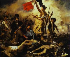Eugene Delacroix, Liberty Leading the People, 1830 , Romantic  • Death of Sardanapalus is a seventh century BCE drama, Delacroix, like Gericault, also turned to current events, particularly tragic or sensational ones, for his subject matter • Delacroix captures the passion and energy of the 1830 revolution in France in this paitning • Hased on the Parisian uprising against Charles X at the end of July 1830, it depicts the allegorical personification of Livertyy definatly thrusting forth the republic's tricolor banner as she urges the masses to fight on • Bold Parisian types stand around libert, street boy brandishing his pistols, the menacing worker dead bodies lay in a crowed pyramidal structure as in Gericault's Raft of the Medusa • Towers of Notre Dame rise through the smoke and hazd  • Balancing contemporary histprical fact with a poetic allegory  • Emotion, high intensity fcolors