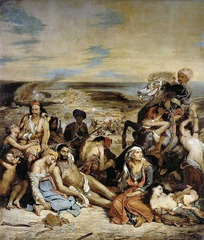 Eugene Delacroix Massacre at Scio 1824, Romantic • Romantic interest in the erotic, exotic, emphasis on emptional despair • Irrationality of human nature, moving away from rigid and austere compositions of of Neoclassical works like David • Color intensity, difficult and dramatic poses • No sense of hope • Depicts Ottomon forces attack on the habitants of the island chios  • Impressed by Gericault's The Raft of the Medusa, the pyramidal diaganol structure is similar here  • The dense assembly of characters in the front mark a contrast with the open and dispersed background • Tectonic form , closed form