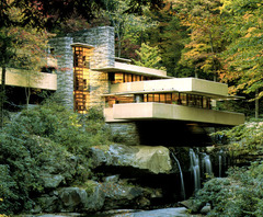Fallingwater  Pennsylvannia, U.S. Frank Lloyd Wright (architect) 1936-1939 C.E. Reinforced concrete, sandstone, steel, and glass It's a house that doesn't even appear to stand on solid ground, but instead stretches out over a 30' waterfall. It captured everyone's imagination when it was on the cover of Time magazine in 1938.