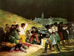 Francisco De Goya, Third of May, 1808, Romanticism  -murderous wall of Napoleon's French soldiers killing the Spanish -enhaned emotional drama, typical of Romantics -Ferdinand VII enlisted Napoleon Bonaparte for help in conquering his mother and father and taking over The Spanish people, finally recognizing the French as invaders, sought to expel the foreign troops  On May 2, 1808 the Spanish attacked Napoleon's soldiers in a chaotic and violent clash  In retaliation, the French responded the next day by executing many Spanish citizens  The tragic event is displayed by Goya, Goya diepicts the anonymous murderous wall of French soldiers ruthlessly executing the unarmed and terrified Spanish peasants  The artist here encourages emphathy for the Spanish by portraying horrified expressions and anguish on their faces  Enhanced the emotional drama through the stark use of darks and lights  Depicts bloodu npdoes of others  Ferdinand reclaimed the throne after ousting France from Spain and commissioned Goya to produce