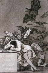 Francisco Goya, THe Sleep of Reason Produces Monster, 1798, Spanish Romanticism  -romantic spirity, emotions, not objective appearance, not as uch calculation, movement, imagination, irrationality  -moving away from Neoclassical  -IN THIS PRINT, GOYA DEPICTS HIMSEL FSLEEPING WHILE THREAtening creatures converge him, revealing his commitment to the Romantic spirit- unleashing of imagination, emotions, and nightmares The viewer might read this as portrayal of what emerges when reason is suppressed Commitment to the creative process of romantic spirit  Francisco Goya, Family Goya Family of Charles IV, 1800, Romanticism Goya becomes painter of the King, Charle IV His model was Velazquez's Las Meninas, which also invluded the artist in the image  King and the Queen surrounded by their children The royal family appears facing the viewer in an interior space while the artist includes himself to the left, dimly visible, in the act of paitning the large canvas There was a lot of dissatisfaction with the Monarchy in Spain during this time