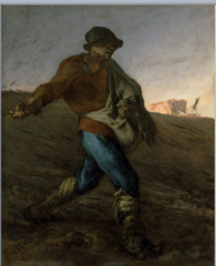 Francois Millet, The Sower, 1849, Realism  -occupations of the evryday world liek Courbet's Stonebreaks and Burial at Ornans  -wanted to move close to rural, blue collar subject -revolution in 1848 of blue collar workers, rural class, this made people suspicious of Courbet and Millet -Mundane real colors, not romanticzed or idealized -• Like Courbet, Millet found his usbjects in the people and occupations of the everyday world  • Who wanted to be closer to his rural subjects so moved out to a small village outside Paris in the forest • After the 1848 revolution of the warking class, people were suspicious of Millet and Courbet, could not get approval of upper class  • The middle class linked the poor with the dangerous,  • In Millet's sympathetic portrayal of the poor, many saw political manifesto • Mundane real colors, poor people displayed with grandeur  • No sense of illusionism,, mot romanticized or idealized