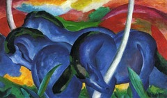 Franz marc, The Blue Horses, 1911• Founder of the Blue Rider group with Kandinsky • Precursor, Van Gogh, uses textures and aggressive brush strokes to convey meaning, Gaugin, arbitrary use of coloring, expressionists like Kirchner, matisse took to next level, presenting anxiety and agitation of the years leading up to WWI  • Harmony of animals,  • Marc gave an emotional and psychological meaning or purpose the colros he used • Blue: masculinity and spirituality  • Yellow: feminine joy  • Red: encased the sound of violence • Blue, spritiuality  • Humans, deeply flawed, materialistic society, turned to animals world, like Matisse turned to primitive human being, interest in natural human state, most emotional • More pure humanity  • Marc used color iconography, attempt to redefine the practice of art and make it more pure