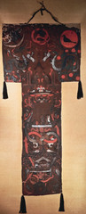 Funeral banner of Lady Dai (Xin Zhui) Han Dynasty, China. c. 180 B.C.E. Painted silk In the mourning scene, we can also appreciate the importance of Lady Dai's banner for understanding how artists began to represent depth and space in early Chinese painting. They made efforts to indicate depth through the use of the overlapping bodies of the mourners. They also made objects in the foreground larger, and objects in the background smaller, to create the illusion of space in the mourning hall.