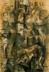 George Braque The Portuguese 1911 Analytical Cubism  • Picasso showed Les Demoiselles d'Avignon to few painters, one being Braque  • They formulated cubism around 1908, completely leaving the pictorial illusionism of perspective and portraying objects and people realistically • The cubists preferred the pure study of shape and form, and the intellectual base for it, rather than how the conventional world was perceived • Avante-garde for the period, began with Cezanne's artistic explorations of form, no longer a coherent aesthetic object • For the cubist, art had to move beyong the description of visual reality  • Dissecting the forms of their subjects, analyzing the structure of forms  • The artist derives the subject from his memories of a Portuguese musician seen years before in a bar in Marseilles  • No interest in color, rejecting pictorial illusionism  • Unlike the Fauves and the German Expressionists, who used vibrant colors, the Cubists subdued hues, here solely in brown tones, focusing the viewers attention purely on the analysis of form • He took this analysis so far that the viewer has to study to dissect what the artist is depicting as the artist himself dissected the forms  • He construction suggests form of a man and his guitar, light and shadow seem arbitrary, broken down and dissected, departure from illusionism and conventional artistic practice • Solid forms seem to be cancelled out immediately  • The stenciled letters are interesting, combining new elements into art, literature or words • Plays with two and three dimensional space  • The numbers and letters are flat • Also the use of letters suggest a blurring of art and non art, stencial is not something you would typically find in the artist's studio  • The constant shifting of perspective and use of depth confuses the viewer, makes it harder and harder the letters and numbers  • The literal representation of numbers or letters contrasts the ambiguous representation of the forms that can't be der