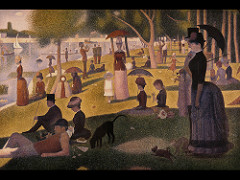 Georges Seurat Sunday Afternoon at the Island of la Grande Jette, 1884-86, Post IMpressionism (formal study)  • Impressionistic subjects, leisure in new, transforming, urban Paris,  • Developed a painstaking system of painting according to color analysis  • Very rigid represwentation, unlike the spontaneity of impressionist painting • Seurat employed pointalism to produce a highly carefully composd and painted image • Meticulous  • The painter does not break the light into transiet patches of color  • Precise, tightly controlled organization  • Shifting social and class relationships at the time  • Captures public leisure life on an afternoon in Paris  • Modern clothes, painting not a fixed moment but something moving in time