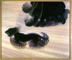 Giacomo Balla Dynamism of a dog on a leash 1912 Futurist • The futurist's interest in motion and the cubist dissection of form is eident here • Viewer sees the passing of a dog and its owner, Ball receieves the affects of motion by repeating shapes as in the dog's lefs and tail and in the line swinging of the leash • Their interest was in motion, related to the falling and decline of Italian economic and social conditions, pushed toward industrialization, cars, mechanism,  • Futurist manifesto was written in an attempt to apply Marinetti's views on literature to visual arts • The aggressive lines move backwards, evoking since of movement and modernity