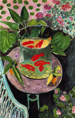 Goldfish  Henri Mattisse. 1912 C.E. Oil on canvas This painting is an illustration of some of the major themes in Matisse's painting: his use of complimentary colors, his quest for an idyllic paradise, his appeal for contemplative relaxation for the viewer and his complex construction of pictorial space.