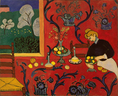 Henri Matisse, Harmony in Red, 1908-09 Fauvism • The subject is an interior of a comfortable prosperous household, radically different from traditional domestic interiors  • The Fauve painter depicted objects in simplified schematized fashion and falttened out forms • Large areas of unmodulated colors • Matisse eliminates the front edge of the table, making the table as flat as the wall • Window could also be a painting, flattening space even further