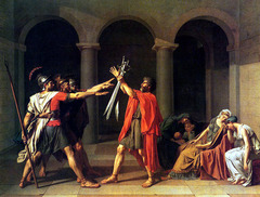 J.L. David Oath of the Horatii 1784, Neoclassicism  • Depicts a narrative of pre-Republican Rome, the heroic phase of Roman history  • Topic was arcane for David's audience • Leaders of the warring cities of Rome and Alba decided to resolve their conflicts in a series of encounters waged by three representatives from each side  • The Romans chose as their champions the three Horatius brothers, who had to face the three sons of the Curatius family from Alba  • A sister of the Horatii, Camilla, was the bride-to-be of one of the Curatius sons, and the wife of the youngest Horatius was the sister of the Curatii  • David's painting shows the Horatii as they swear on their swords held high by their father, to win or die for Rome, oblivious to the anguish and sorrow of their female relatives  • Paragon of Neoclassical style • Subject matter deal with a narrative of patriotism and sacrifice excerpted from Roman history, but the painter presented the image with force and clarity  • David depicts in a shallow space, much like a stage setting, defined by simple architectural framework  • Statuesque and carefully modeled figures across the space, idealized forms  • The rigid, angular, and virile forms of the men on the left effectively contrast the curvilinear shapes of the distraught women on the right who they are oblivious to  • The men forms model the virtues of Enlightenment leadrs, courage patriotism, unwavering loyalty  • The French viewing audience perceived such emotionalism as acharcateristic of the female nature • Voice of revolution for France • Statuesque figures and classical architecture