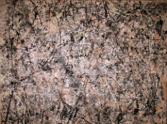Jackson Pollock Lavender Mist 1950 Abstract Expressionism• all over composition, which Greenberg formalism liked, no reference to the external world • art for arts sake • allowing chance to take over, like Arp, relingquishing control to natural forces like gravity  • artist becomes more of a passive player • indexical: shows the artist's presence  • he flung and dripped the paint, worked with the canvas on the floor • spontaneous yet choreographed like a dnace • celebrated flatness, no relationship between the foreground or background • he improvisational nature ties to thea rtist's subconscious