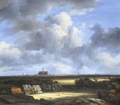 Jacob Van Ruisdael Wheat Fields 1670 Dutch Baroque • depiciting the Dutch landscape with precision and sensitivity  • the Saint Bravo church in the background, the numerous windmills that refer to the land reclamation efforts, and the figures in the foreground stretching linen to be bleached (a major industry in Haarlem) reflects the sense of nationalism for their homeland that Dutch painters took on • van Ruisdael not only captures the appearance of a specific locale, but also succeeds in imbuing the work with a quiet serenity that becomes almost spiritual  • Depiciting the dutch landscape with precision and sensitivity was Jacob's speciality,  • Reflects the Dutch painters pride took in his homeland • The inhabitants are so miniscule they blend into the land itself • The horizon is low, so the sky fils almost three-quarters of the picyire • Imbus the work with a quiet serenity that becomes almost spiritual
