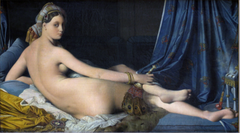 JAD Ingres Grande Odalisque, 1814, Neoclassical/Romantic  -student of David, but departs from Neoclassical tradition, form is more elongated, ties to the Mannerist with elongated structure, Parmigianno for example -Odalistque (woman in Turkish harem) shows contemporary taste for the Near East and the exotic -Romantic theme, was critqued for this until Delacroix joined the part -pushed up front to the picture plane