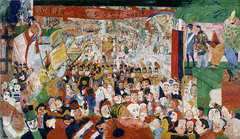 James Ensor, The ENtry of Christ into Brussels 1889, postimpressionism  -subjective emotional resposne to color -arbitrary uses of color to express emotion -chaotic space