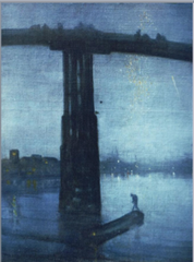 James McNeill Whistler, Nocturne in Blue and Gold 1872-75 -unique combination of impressionist's concern for modern contemporary, culture, the fleeting moment and the interes in light in dark -can see japonise influence -also wanted music to play a part, art being its own medium, precursor for modernism  • Unique combination of the French Impressionists and his own concerns  • Subject of contemporary life and the sensations light and color produces on the ye • To these influences he also added his own desire to create harmonies paralleling those achieved in music  • Influence of Aesthetic movement, creating art for arts sake, like music is for itself, wanted to express the harmony and beauty of music through visual means