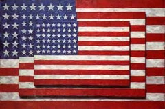 Jasper Johns Three Flags 1955 Neodada  • Johns finds the Trojan horse in Greenberg's idea of formalism, in which art should celebrate the medium as it is flatness, nonobjective, pure art for its own sake • Here, what if you paint something flat but the object being represented is flat • There is no difference here between the signified (the flag) and the signifier (the painting)  • There is incongruity between the roughness, painterly aspects of the surface and the flatness of the representation • He incorporates three dimensionality which also frustrates Greenberg, reference to Kelly, painting should celebrate flatness where as sculpture should celebrate three dimensionality  • Also plays with perspective and illusion, as object gets closer, the viewer expects it to get bigger, here he does the opposite • He relinquishes a bit of control to nature by allowing the shadows to show up on the surface  • The found object is also referenced, inherent part of dada I shumor, a lot of humor is going  • Iconic (flag) index (Painterly) symbol (US)  Pop Art