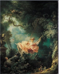 JH Fragonard The Swing 1767 Rococo  • Here, a young gentleman has managed an arrangement whereby an unusual old bishop swings the young man's pretty sweetheart higher and higher, while her lover (and the work's patron), in the lower left corner, stretches out to admire her ardently from a strategic position on the ground • The young lady flirtatiously and boldly kicks off her shoe toward the little statue of Cupid, the infant love god holds his finger to his lips, the landscape setting is similar to Watteau: a luxuriously perfumed bower in a park, resembled a stage scene for comic opera • The glowing pastels and soft light, very painterly, theme's of sensuality and flirtation  • Feathery brush strokes •
