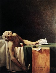 JL David Marat 1793 Neoclassicism  -classical nature of painting, order and harmony, balance, matches with Enlightenment concepts of rationality -also classical culture in pinnacle of civilized society,  -liberty, moralityt, sacrifice  • When the French Revolution broke out in 1789, David joined the Jacobins, the radical and militant revolutionary faction • Was the de facto minister of propogand, organizing political pageants and cereomnies that included floats, costumes, and sculptural props  • His paitnign emphasized patriotism in a time it needed most (Revolution)  • David moved from scenes from antiquity to scenes of the revolution itself, he intended Death of Marat to serve as a record of an important event in the struggle to throw over the Monarchy, but also to provide inspiration and encouragement to the revolutionary forces  • Marat, a revolutionary writer, was assassinated in 1793, Charlotte Corday, a member of a rival political faction stabbed him to death in his medical bath (Marat suffered from a painful skin disease)  • Sense of directness and clarity  • The cold neutral space above Marat's figure slumped in the tub produces a chilling oppressiveness  • Vivid narrative details, typical of classical work, the knife, the wound, the blood, the letter which the young woman gained entrance  • Presents Marat as a tragic martyr who died in the service of the revolution  • David based the figure on Michelangelo's Pieta, in Saint Peter's in Rome  • Altarpiece for the new civic religion inspiring the French people with the saintly dedication of a slain leader