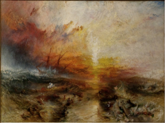 JMW Turner the Burning of the Houses of Parliament, 1835, Romantic  -used romantic landscapes, reacting against industrialization • Using landscape as a way to convey political message • The composition carrying the meaning, emotive colors, energetic brush strokes, intensity, influence Delacroix • Barbaric sense, swirling sky • Reflects the forces of nature over the minuteness of human, only see the power of nature with small reminders of human existence