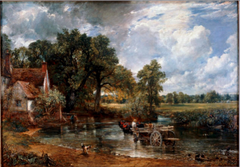 John Constable The Haywain, 1821, Romantic Landscape  • Momentous development in Western History- the Industrial Revolution- influenced the evolution of Romantic landscape patinign in England  • Although industrial revolution invariably discusses technological advances, factory development etc. urban growth • Its effect on the countryside and the land was severe • The detrimental eoconomic impact industrialization had on the prices for agricultural products produced unrest in English countryside • Increasing numbers of displaced farmers could not longer afford to farm their small land plots • John Constable addressed the agrarian situation in his landscape paintings • Small cottage sits on the left of his placid, picturesque scene of the countryside and in the center foreground a man elads a horse and wagon along a stream • Muted greens and golds and the delicacy of Constable's brush strokes augment the scene's tranquility  • Portrayed the oneness with nature that Romantic poets sought • Relaxed figures are not observers but participant's in the landscape's being • Significant for what it does not show: the civil unrest of the agrarian working class and the outbreaks of violence and arson that resulted due to the increased agricultural prices from the Industrial revolution  • The people blend in are one with nature/landscape (Romatic poetry)  • Nostalgic view of the ending rural pastoralism  •