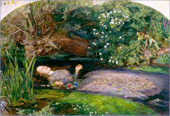 John E. Millais Ophelia, 1852, pre-raphaelite -founder of Pre-raphaelite, Millais, sincere art, believed Raphael introduced an academic nature to painting -also did not like realism, did not want to constrain themselved to contemporary objective studies -preferred more fictional stories, that were symbolic with convincing illysionism -were disgusted with the materialistic nature of art, celebration of technology of realism etc. • They also expressed appreciation for the spirituality and idealism of past times, especially the Middle Ages and the Early Renaissnace  • The subject, from Shakespeare's Hamlet, is the drowning of Ophelia, who, in her madness, is unaware of her unfortunate situation  • Reconstructing the image with lyricism worth of the original poetry  • The scene is fictitious but with unparalleled detail, used model laying in bathtub and then observed a river mill  • Image should be rendered emotionally