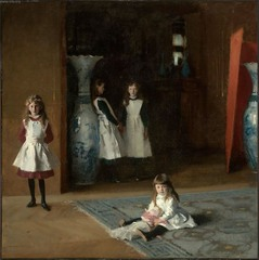 John Singer Sargent The Daughters of Edward Darley Boit, 1882, Realism (AMerican)  -painting everyday rael subjects, contemporary clothing - not idealized or romanticized  -followed Courbet, Millet, Manet,  -looser style than Eakins, subtle variations  • The four girls (the children of his close friend) appear in a hall and small frawing room in their home in paris  • The informal, eccentric arrangement of their slight figures showshow they are much at ease in the comfortable place • Objects Japanese vases, the red screen and the fringed rug  • Show young innocence in the young girls, he sensitively captures the naïve, wondering openness of the litte girl in the foreground,, slightly self-conscious poses of the older teens  • The paitning embodies the Realist belief that the artist's business is to record modern people in modern context