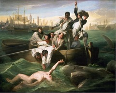 john Singleton Copley, Watson and the Shark, 1778 18th Century Enlightenment painting  • Narrative history painting, when he came to London he had opportunity to work with the medium of narrative paintings that was absent form Boston College depicts the rescue of Brook Watsom from ashark attack in waters off of Havana, Cuba  • Painted in modern dress  • Copley and Watson became friends when he moved to Longon, he commissioned him to create the painting of the event • First of his series of large-scale historical paintings that he concentrated on in Longon • The figure of Watson is based on classical sculpture  • Copley has clearly never seen a shark  • Romanticized composition  • Influence from Rubens, romantic nature of it although he was Baroque