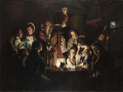 Joseph Wright of Derby, Experiment with an Air Pump 1768, 18th Century Enlightenment Art -reflects industrial revolution and the enlightenment -reaction against Rococo, following the feelings of revolution in both France and American, new sense of feeling -more focus on independence, empirical evidence, science is becoming important, John Locke -Isaac Newton is being talked about, the importance of empirical evidence  Technological advancement during the 18th century became a central theme for this period, fascination with science Wright specialized in dramatic candlelit and moonlit scenes  He liked subject illuminated by a single light from within the picture In the painting, a scholar demonstrates a mechanical model of the solar system called the ORRERY, in which each planet revolves around the sun (a lamp) at the correct relative velocity  Light from the lamp pours forth from in front of th eby silhouetted in the foreground to create dramatic light and shadows An earnest listening makes notes while the lone woman seated at the left and the two gentlemen at the right look on with rapt attention  The rtist visually reinforces the fascination with orrery by composing the image in a circular fashion  All the attention is focused on the light Every detail is scrupulously rendered  Wright's realism appealed to the great industialists of his day Reflects Industrial Revolution/ Enlightenment