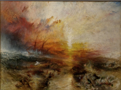 JW Turner, The Salve Ship 184, Romantic landscapes • Produced work that commented on the encroaching industrialization • Landscape as an allegory, typical of Romanticism • Different from Constable's painting whose are serene and precisely painted, Turner's feature turbulent swirls of frothy pigment • The passion and energy of Turner's work reveal the Romantic sensibility that was the foundation of art  • Sublime- awe mixed with terror  • Its subject is a 1783 incident reported extensively in a slvae trade book, the incident involved the captain of a slave trade ship who, on realizing that his insurance company would reimburse him only for slaves lost at sea but not for those who died en route, ordered the sick and dying slaves to be thrown overboard  • Appropriate title (Slavers Throwing Overboard the Dead and Dying, Typhoon Coming On)  • Turner's frenzied emotional depiction of this act matches its barbaric nature • The artist transformed the sun into an incandescent comet amid flying scarlet clouds • Turbulent sea filled with sinking slave bodies • The relative scale of the miniscule human forms compared with the vast sea and overarching sky reinforces the sense of the sublime, the immense power of nature over human beings  • Emotive power of pure color (perhaps influence of dDelacroix with the importance of color over line/ also Rubens not Ingres or Poussin)  • The composition compeys the meaning, intense brush strokes, energetic colors  • Reflects the forces of nature and the painter's emotional response to that  • Discovery of the pure color and the medium's fluidity carrying the meaning, more important than the actual subject of the painting, is a big move towards abstact 20th century art