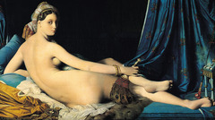 La Grande Odalisque  Jean-Auguste-Dominique Ingres. 1814 C.E. Oil on canvas Ingres' sensual fascination with the Orient was no secret. He displayed his attraction for this foreign eroticism in many of his works but his most famous paintings on this theme are La Grande Odalisque.