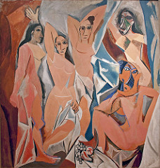 Les Demoiselles d'Avignon  Pablo Picasso. 1907 C.E. Oil on canvas Marks a radical break from traditional composition and perspective in painting. These strategies would be significant in Picasso's subsequent development of Cubism, charted in this gallery with a selection of the increasingly fragmented compositions he created in this period.