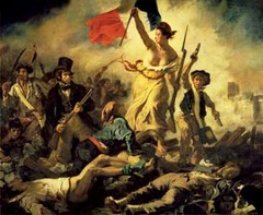 Liberty Leading the people Eugène Delacroix. 1830 C.E. Oil on canvas Delacroix wanted to paint July 28: Liberty Leading the People to take his own special action in the revolution and his color technique combined his intense brushstrokes to create an unforgettable canvas.